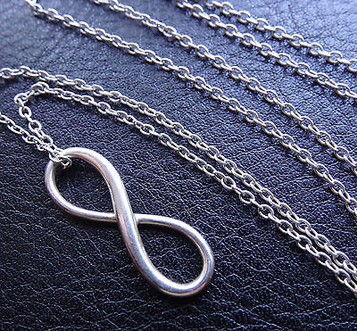 """vintage 18"""" 925 STERLING SILVER modernist infinity pendant chain necklace -D65"""