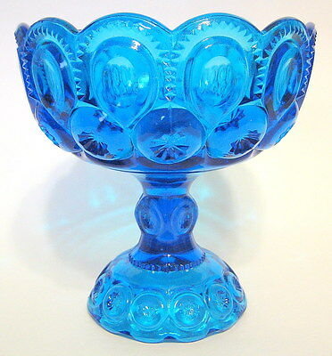 L.E. Smith Moon and Stars Compote Ornate Blue Glass Curio without Lid