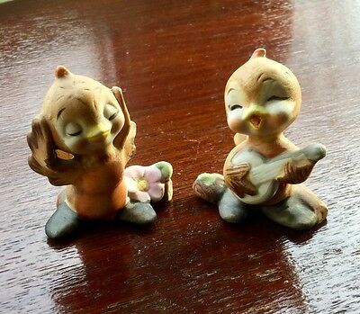 Vintage Pair of Small Bird Ornaments / Figurines Foreign