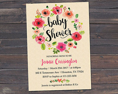 Baby Shower Invitation, Watercolor Flowers Invitation
