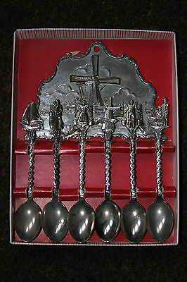 Vintage Set Of Silver Metal Dutch Tea Spoons With Holder