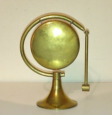 Very Attractive Little Antique Art Deco Brass Desk Top Gong With Striker