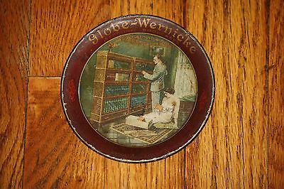 Antique Globe Wernicke Barrister Bookcase Advertising Tin Tip Tray Brookville PA