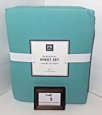 Pottery Barn Essential Pool 4 Piece Full Sheet Set Cotton New Nwt