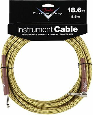 Fender Custom Shop TWEED Electric Guitar Cable, Straight to Right-Angle, 18.6...