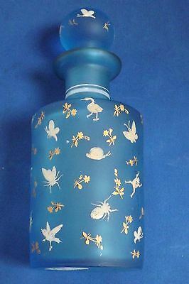 Antique Bohemian Art Glass Enameled Perfume w Frogs and Insects Great Condition