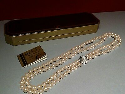 Vintage Lotus 700 pearl necklace 2 strand with silver clasp