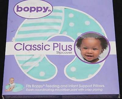 Boppy Classic Plus Slipcover Turquoise Confetti Dot and Stripe 2 sided new #509