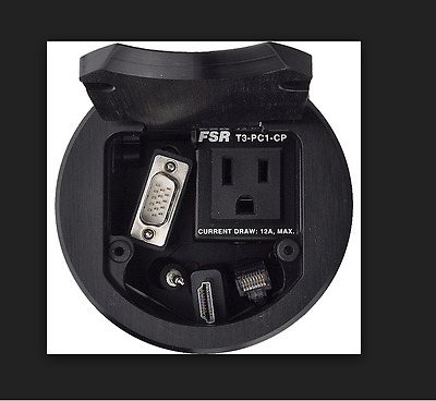 """FSR T3-PC1DCP 3.5"""" Cable Pull Round Table Box (Black) (Lot # 296)"""