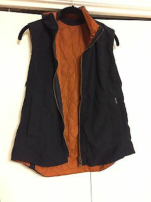 Faconnable Women's Diamond Quilted Vest Navy Cognac size Medium in EUC!