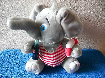 "Coca Cola Plush Elephant Coke VGC CUTE 8"" SITTING 1993 with Life Preserver"