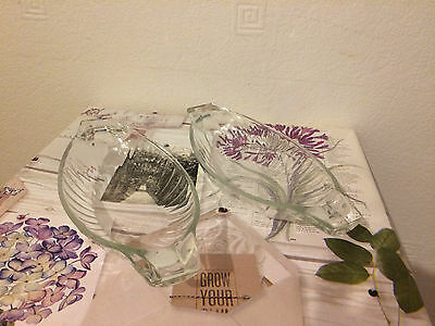 Vintage 2 French Pressed Oval Art Glass Ware  Bowl Dish Sauce Marked France