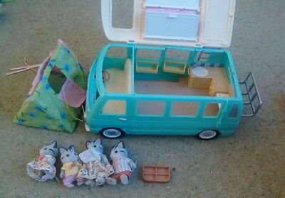 Sylvanian Families Campervan and tent and family