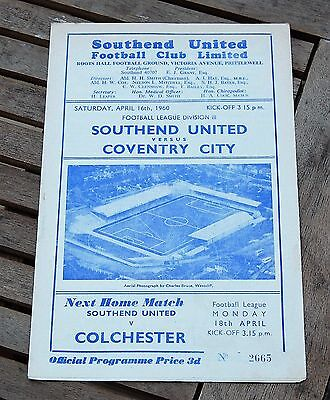 Southend United v Coventry City 1959/60 Football Programme
