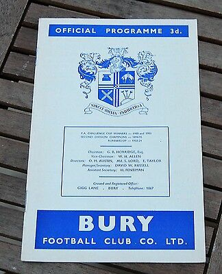 Bury v Sheffield United 1960/61 League Cup Football Programme