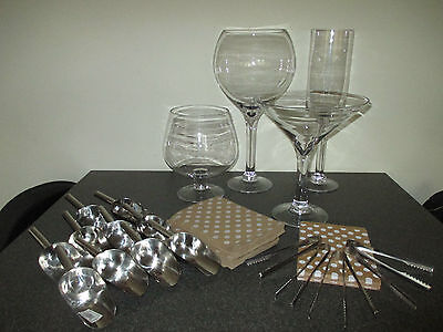 Set of 4 large glasses/jars, tongs, scoops, bags wedding/party sweet/candy table
