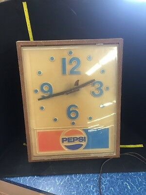 "vintage pepsi lighted clock 15""x18"" *Untested* Antique"