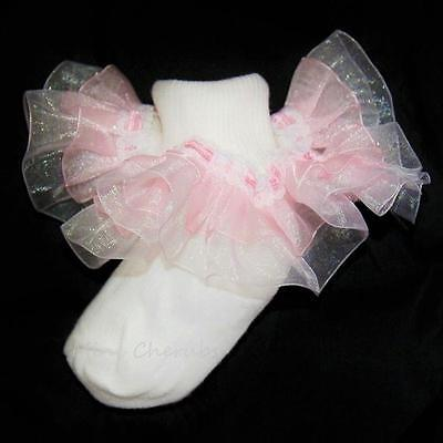 Gorgeous Baby Girls White Pink Frilly Organza Occasion Christening Socks