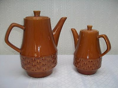 2 x Coffee Pots , Brown with basket weave design
