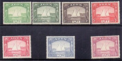 Aden. 7 lightly hinged mint Dhow stamps issued 1937. SG 1 to 4 and 6 to 8