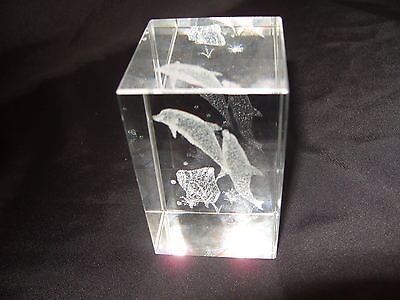 Swimming Dolphins Laser Crystal Rectangle ( B )