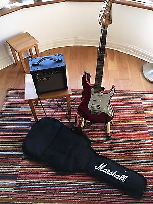 Electric Guitar, Amplifier, Stand And Case