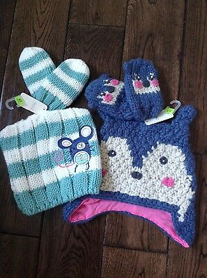 two sets of girls hat and mitts from Next age 1-2 BNWT