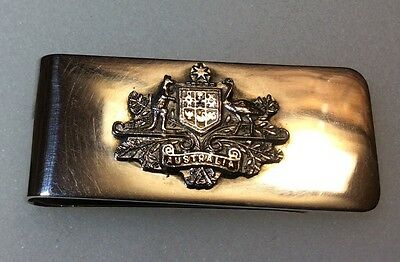 Very Rare Vintage Sterling Silver Australia Coat of Arms Britannic Money Clip