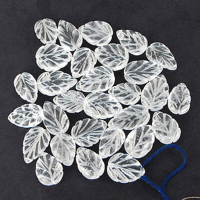 530 Cts/29 Pcs Untreated Natural White Quartz Drilled Carved Leafs Wholesale Lot