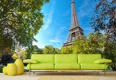 Giant wallpaper mural for bedroom Paris Eiffel Tower Green photo wall holiday