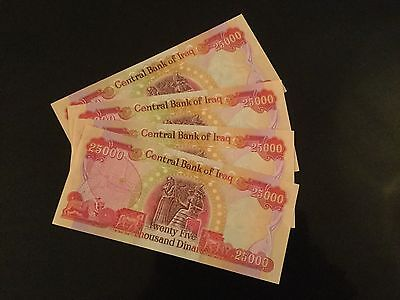 100 000 New Iraqi Dinars 4 x 25 000, Brand New, ROYAL MAIL TRACKED DELIVERY