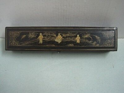 Antique Chinese Hand-Painted Lacquer lacquered Box with mens Painted inside