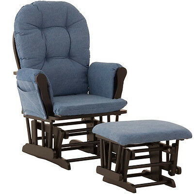 Hoop Glider & Ottoman - Black, Denim - 06550-62B