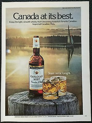Vintage 1978 Canadian Mist Whisky Ad print- sailboat, lake, sunset, at its best