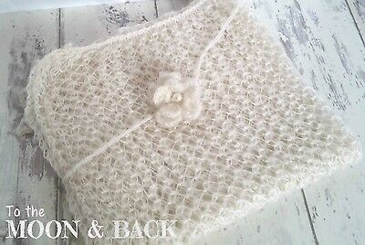 Cream Newborn Knit Mohair Wrap with Headband Blanket Baby Photo Photography Prop