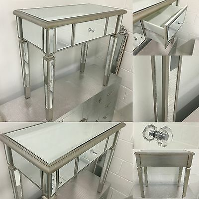 Sale- Venetian Mirrored Glass 1 Drawer console / Dressing Table With Silver Trim