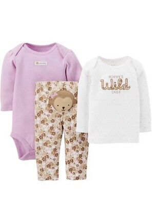 Carters Child Of Mine Baby Girls 3-piece Monkey Pants Outfit 24 Months