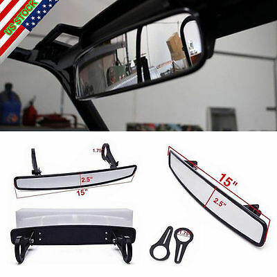 "Universal 1.75"" Clamp  UTV 15"" Rear View Race Mirror Polaris RZR800 XP900 XP1000"