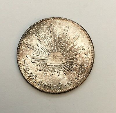 MEXICO  ZACATECAS MINT  1849-ZsOM  4 REALES SILVER COIN, BORDERLINE UNCIRCULATED