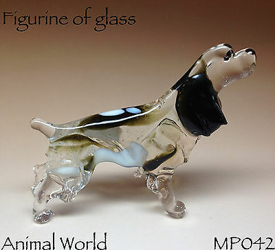 Figurine Spaniel Dog Blown glass Russian Souvenirs handmade art