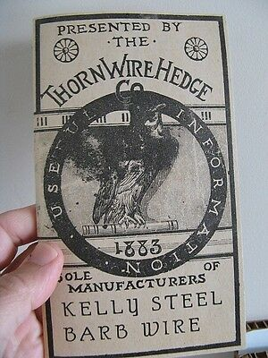 Vintage 1883 Thorn Wire Hedge Barb Barbed Wired Catalog Reprint