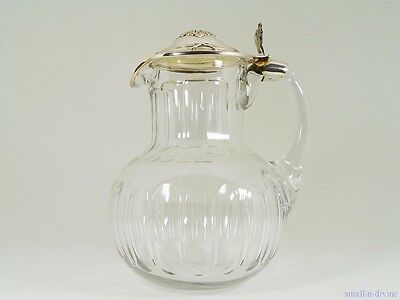 Divine French Sterling Silver 950/1000 & Cut Crystal Pitcher / Jug