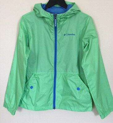 Columbia Girls Lime Green Windbreaker Jacket w/ Hood Size M (10 -12)