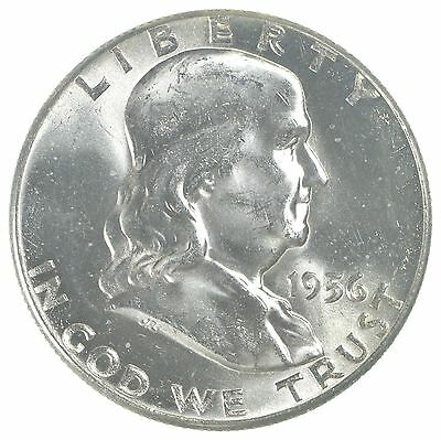 Choice Uncirculated 1956 Franklin Half Dollar - 90% Silver - Tough Coin! *5986