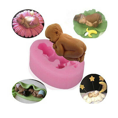 Silicone 3D Sleeping Baby Shape Cake Mould Fondant  Candy Cupcakes Decorating