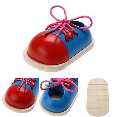 1PC Kids Early Montessori Educational Toy Children Toddler Wooden Lacing Shoes