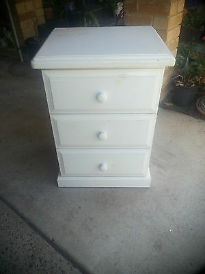 White Painted Wooden Bedside Table with drawers on runners