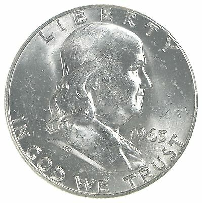 Choice Uncirculated 1963-D Franklin Half Dollar - 90% Silver - Tough Coin! *5983