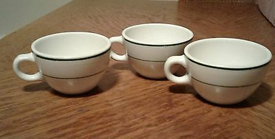Vtg 3 Shenango China, Diner Style Coffee Cups/mugs, Green Stripe, Made In Usa
