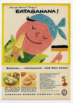 1957 Canadian Banana Co Eat a Banana Vintage Magazine Print Ad